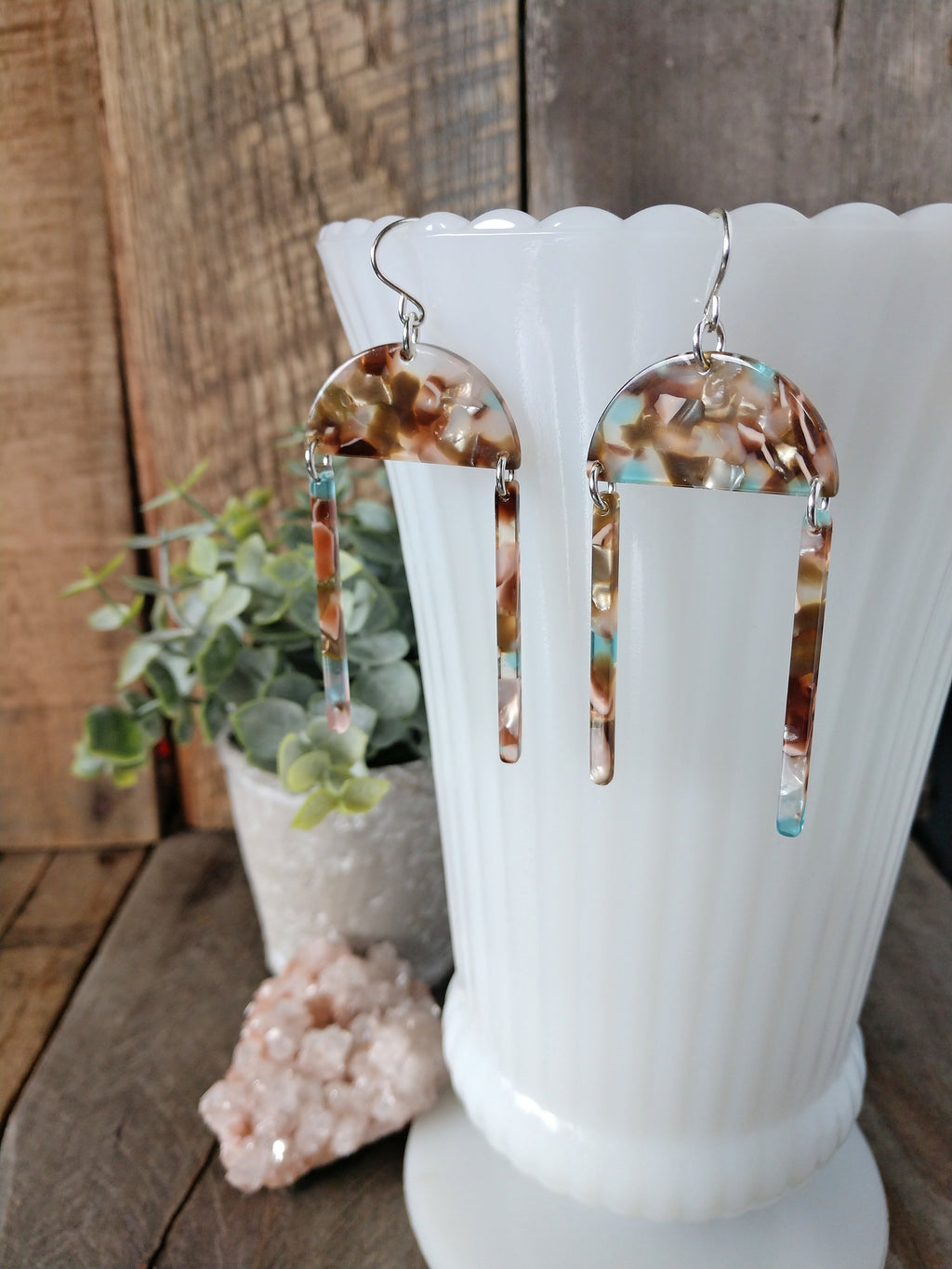 colorful acetate earrings | lightweight | brown blush aqua mother of pearl sterling silver | exploration earrings | rare soul jewelry | rare soul accessories