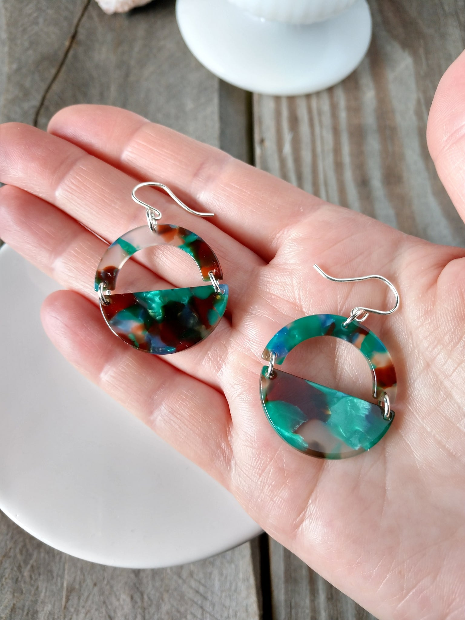 blue and green acetate geometric earrings | half moon | lagoon earrings | rare soul jewelry | rare soul accessories