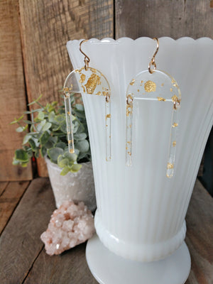 gold foil acetate earrings | gold rush earrings | statement | dangle | rare soul jewelry | rare soul accessories