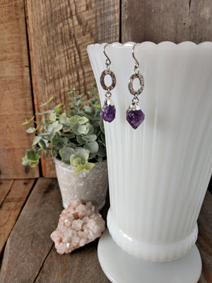 raw amethyst crystals | purple rain earrings | sterling silver | rare soul accessories | rare soul jewelry