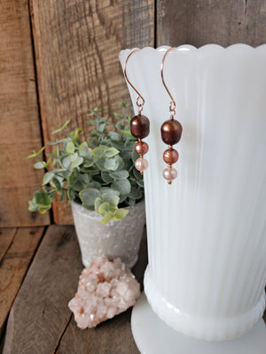 blush and chocolate pearl dangle earrings | rose gold | cultured freshwater pearls | rare soul accessories | rare soul jewelry