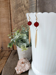 carnelian and gold dagger earrings | poisoned apple earrings | Rare Soul jewelry | rare soul accessories