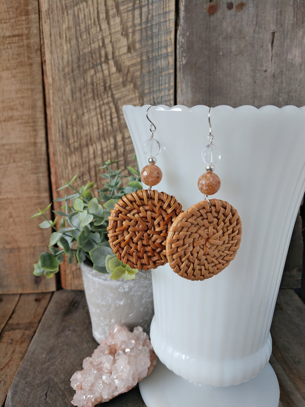 rattan earrings | straw earrings | agate | crystal quartz | celebrate earrings | rare soul jewelry | rare soul accessories