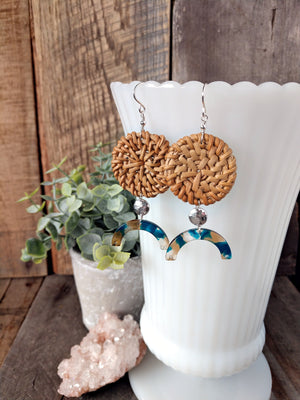 rattan and acetate earrings | straw earrings | lightweight | statement | arches earrings | rare soul jewelry | rare soul accessories