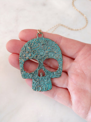 sugar skull necklace | patina brass skull necklace | turquoise skull gold chain | rare soul jewelry | rare soul accessories