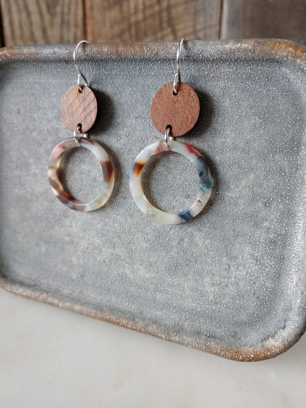 walnut wood and acetate earrings | neutral | sterling silver | courtney | rare soul jewelry | rare soul accessories