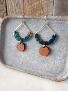 teal bronze acetate | walnut wood | 14k gold fill earrings | rare soul jewelry | rare soul accessories