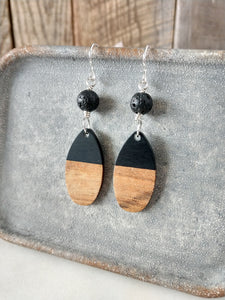 black lava bead | walnut wood | black resin | sterling silver earrings | stevie | rare soul jewelry | rare soul accessories