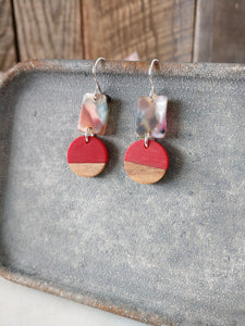 wearable red earrings | red resin | natural wood | colorful acetate | sterling silver | rare soul jewelry | rare soul accessories