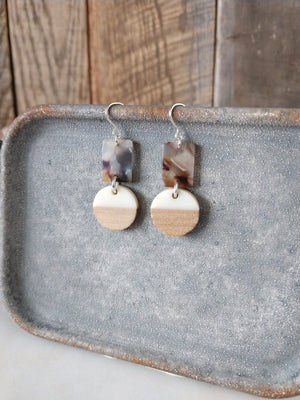 perfect lightweight neutral earring | gray brown cream | wood | resin | acetate | sterling silver | rare soul jewelry | rare soul accessories