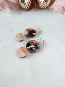 peachy pink aesthetic earrings | wood | acetate | resin | sterling silver | rare soul jewelry | rare soul accessories