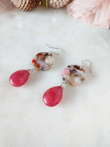 strawberry quartz and colorful resin | sterling silver earrings | rare soul jewelry | rare soul accessories