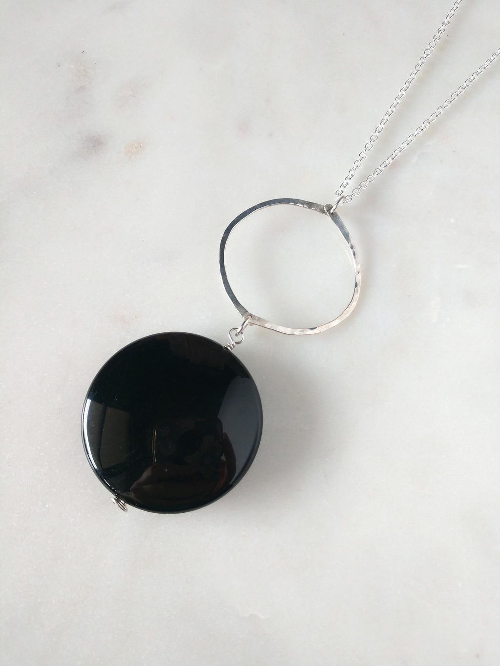 black onyx coin and sterling silver circle pendant necklace | hand forged | rare soul jewelry | rare soul accessories
