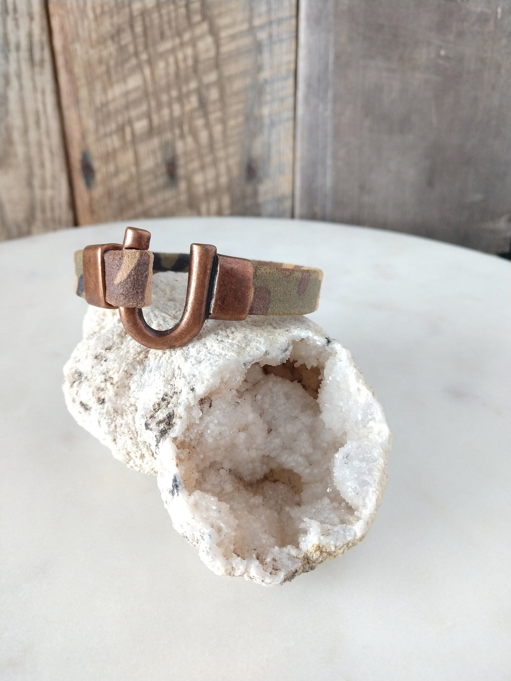 camo suede leather bracelet with copper horseshoe clasp | rare soul jewelry | rare soul accessories