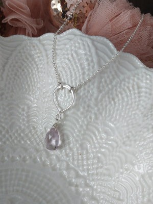 pastel pink amethyst briolette necklace on sterling silver rollo chain | forever pastel | rare soul jewelry | rare soul accessories