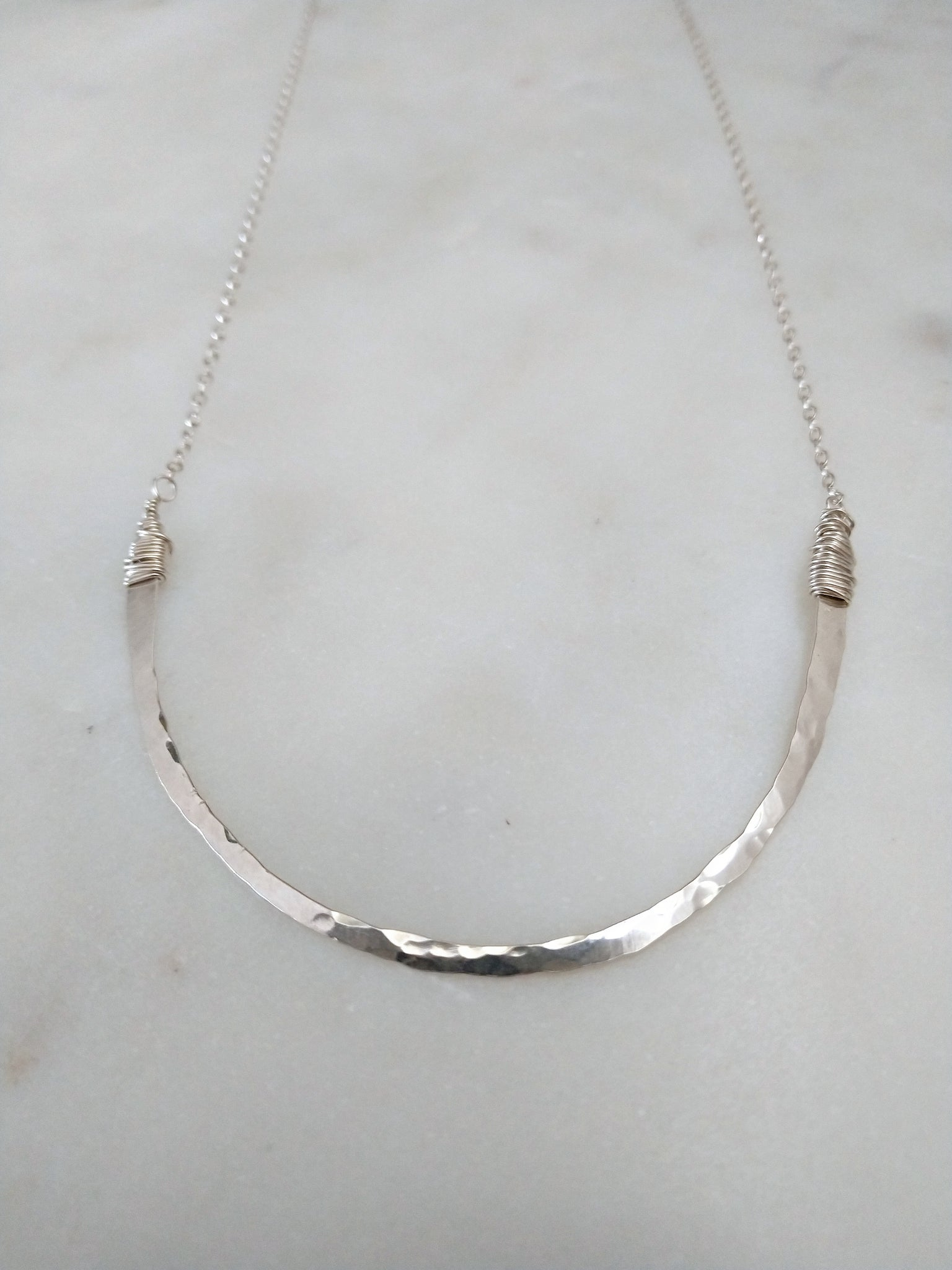 hand forged sterling silver smile U shaped necklace | happy | rare soul jewelry | rare soul accessories