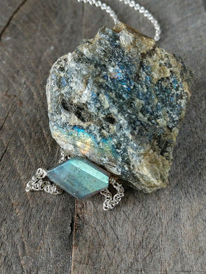 Flashy labradorite and sterling silver necklace by Rare Soul accessories.