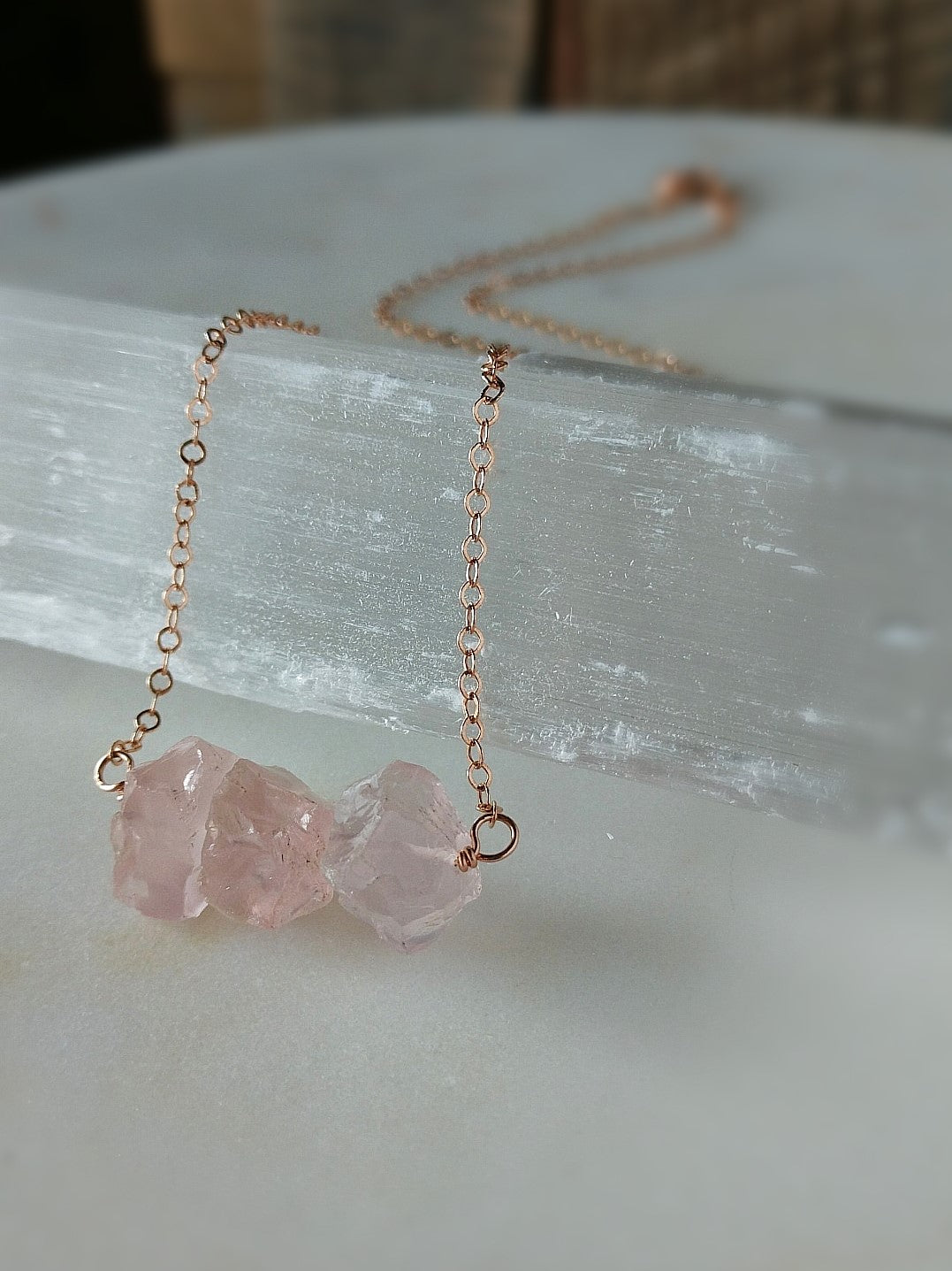 Love Nugget features raw rose quartz nuggets on rose gold by Rare Soul accessories.