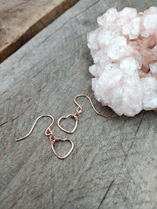 open heart earrings | rose gold hearts | Rare Soul accessories