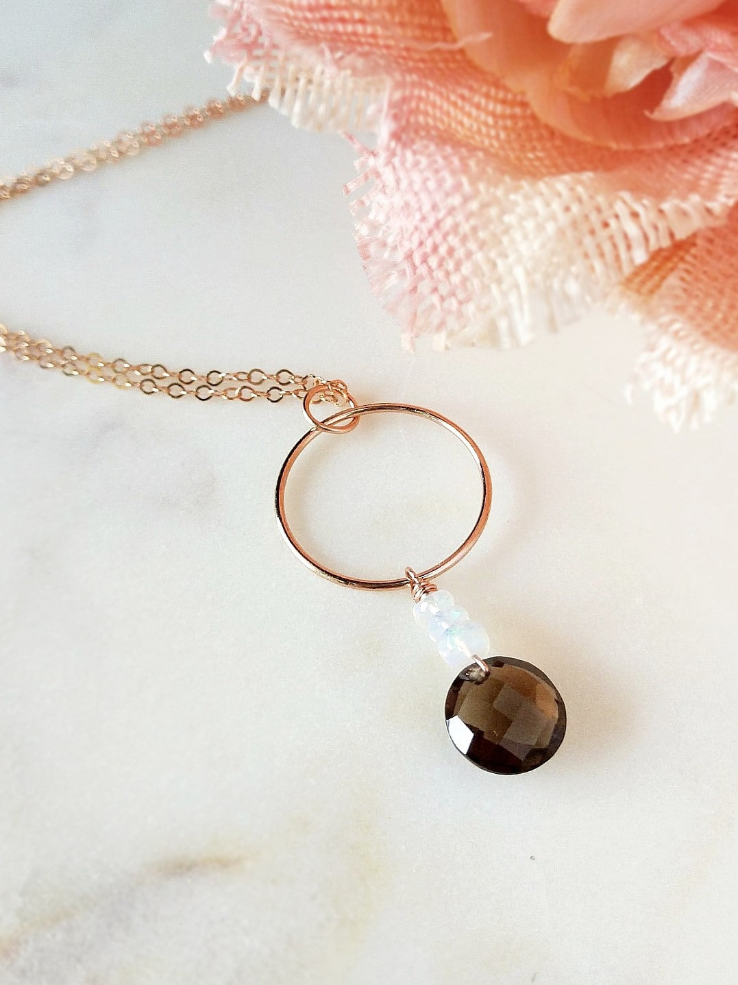 smoke stack necklace featuring smoky quartz, welo ethiopian opals, and rose gold by Rare Soul accessories.
