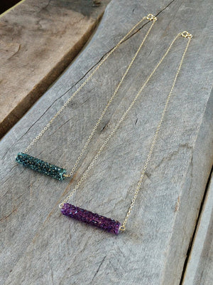 Swarovski crystal bar necklace by Rare Soul accessories.