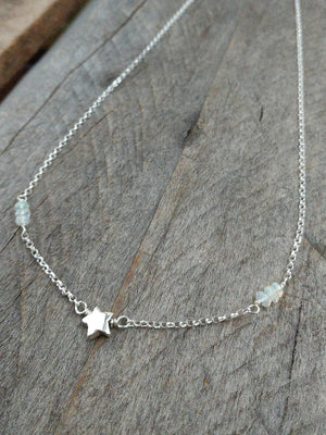 Stardust necklace with welo Ethiopian opals and sterling silver star by Rare Soul accessories.