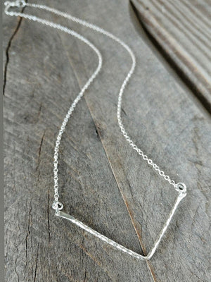 Sterling silver chevron necklace by Rare Soul accessories.