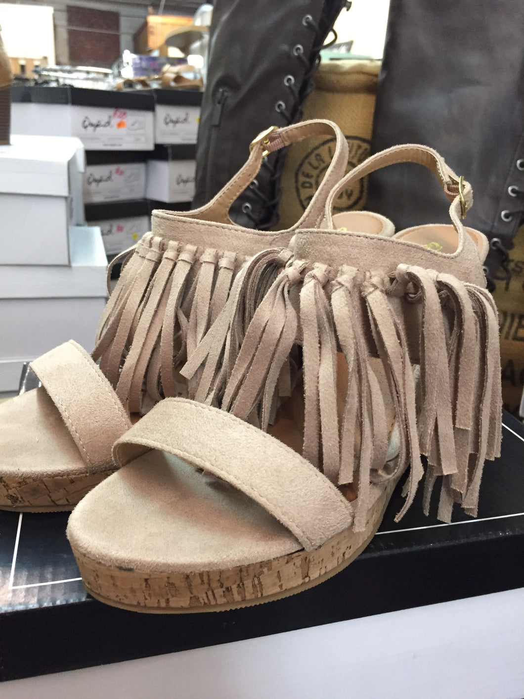 Suede Fringe Wedges