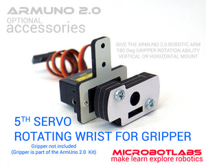 Optional 5th servo rotating gripper wrist for ArmUno Robotic Arm Kit