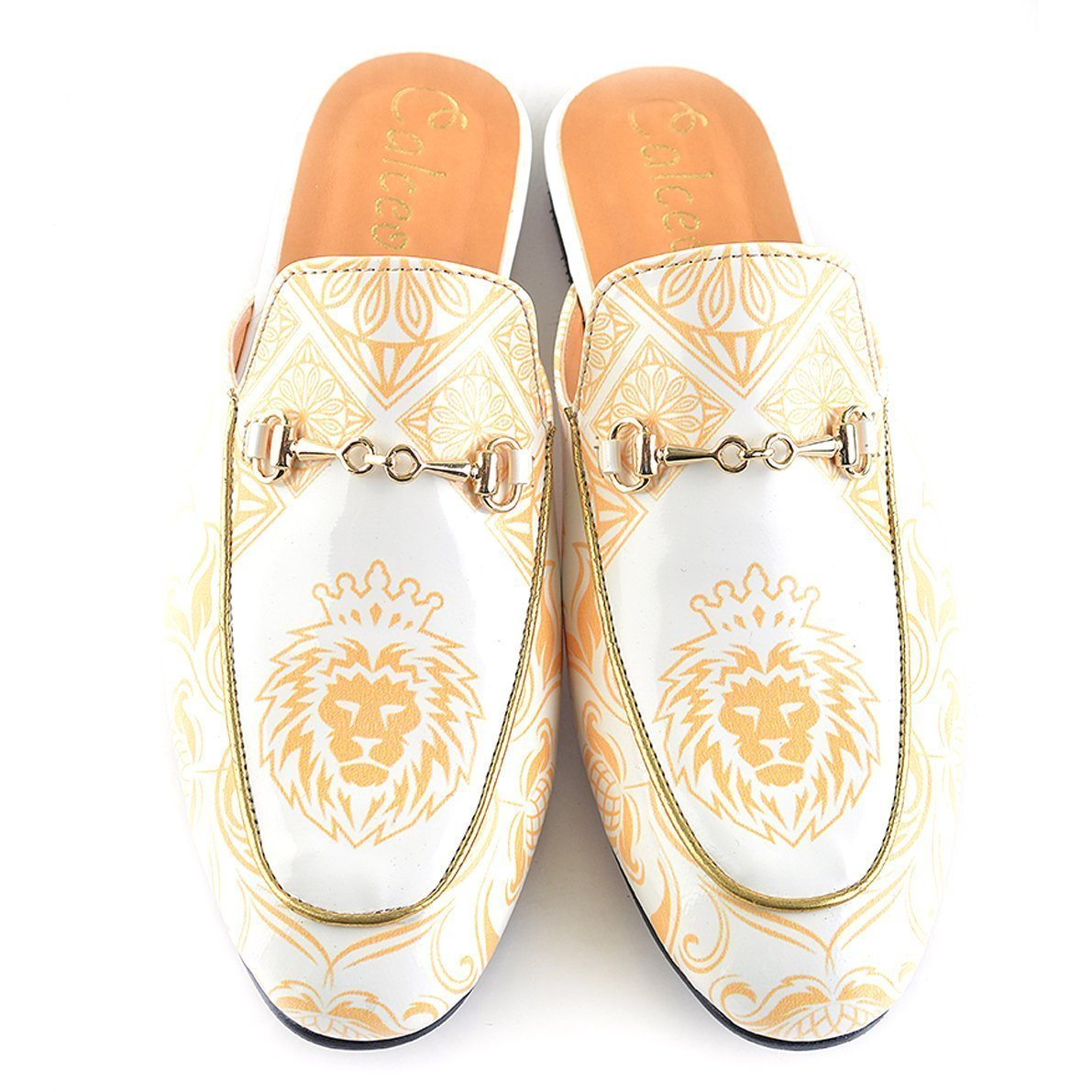White and Orange, Flowers Leon Pattern Slip-On Loafer - CAG109