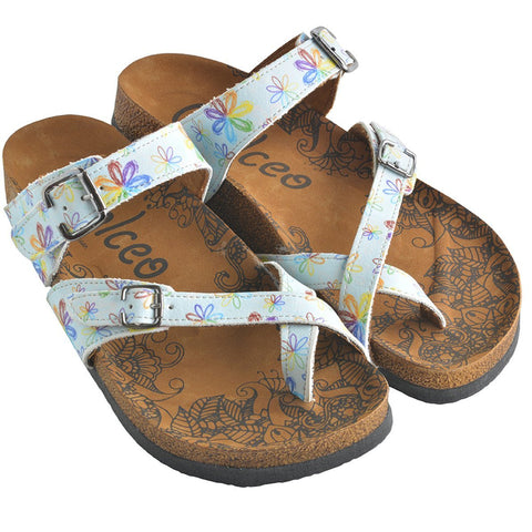 Rainbow Flowers and Light Blue Pattern Sandal - CAL1007