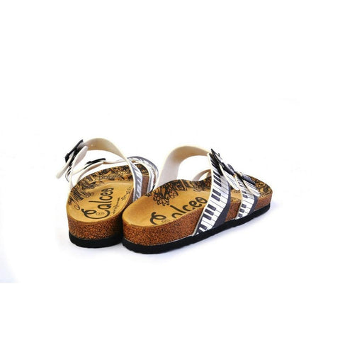 Black and White, Piano Pattern Sandal - CAL1010