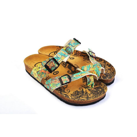 Light Blue and Orange, Yellow Drop Patterns Sandal - CAL1011