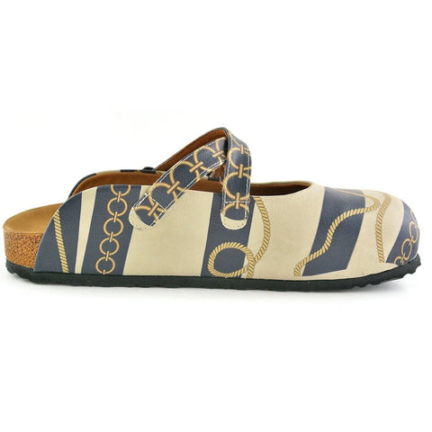 Beige and Navy Blue Striped, Gold Cyclic and Rope Pattern Clogs - CAL101