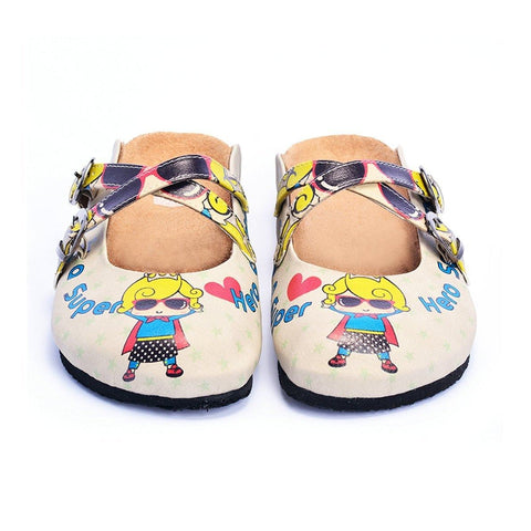 Super Hero Girl With Sunglasses and Star, Heart Shaped Clogs - CAL104
