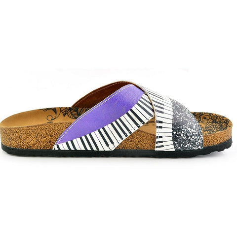 Purple, Black and White Musical Notes Piano Patterned Sandal - CAL1102