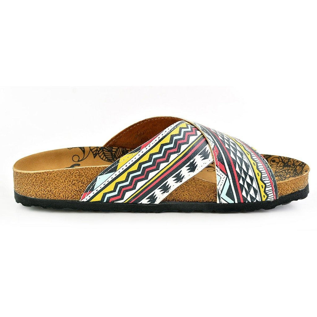 Red, Black, Yellow, White Geometric and Pine Tree Shapes Patterned Sandal - CAL1106
