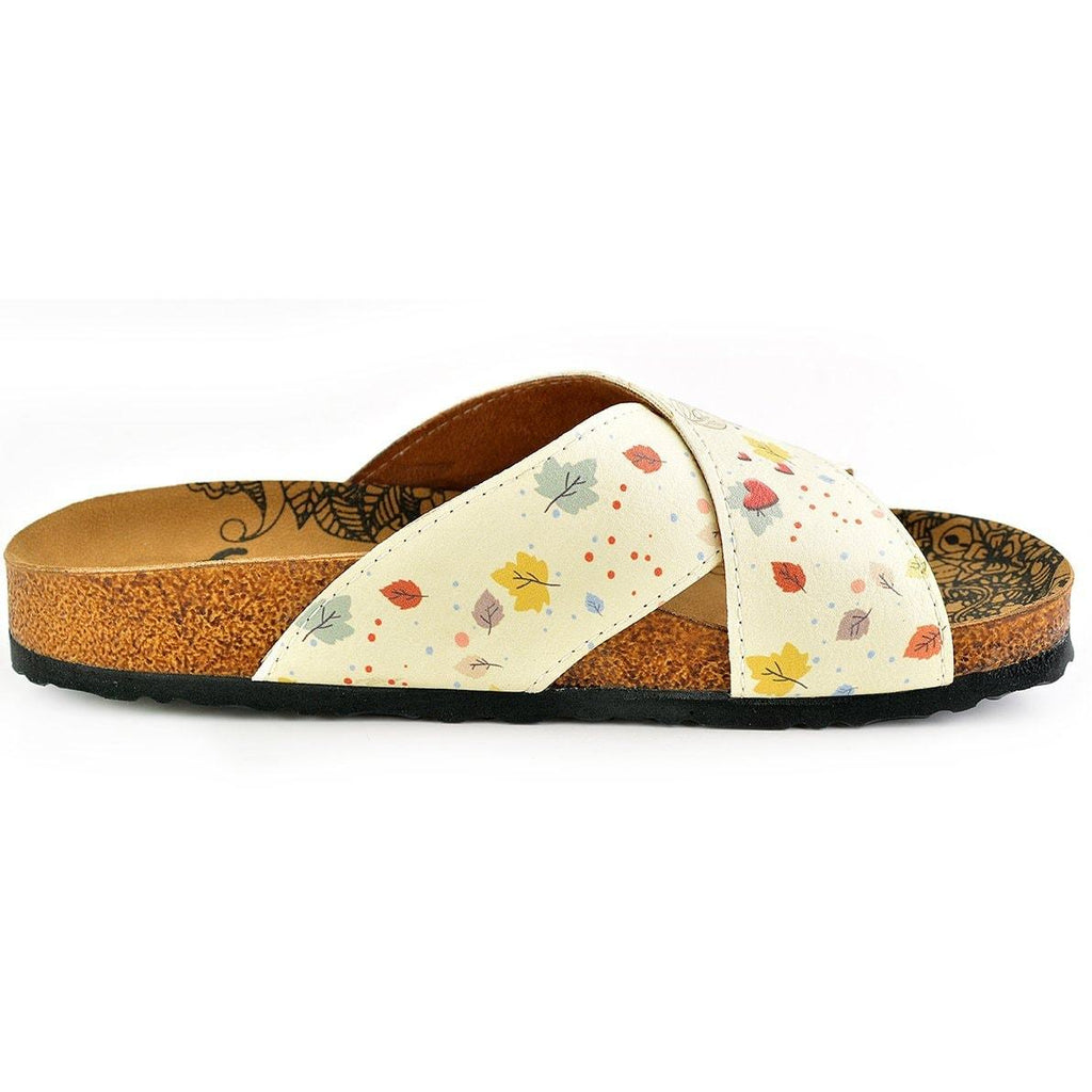 Colorful Autumn Leaves and Hearted Girl and Boy Patterned Sandal - CAL1107