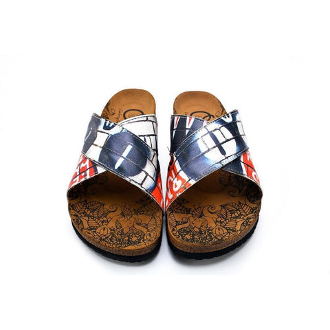 Black, Red, White and Wall Decoy Patterned Sandal - CAL1110