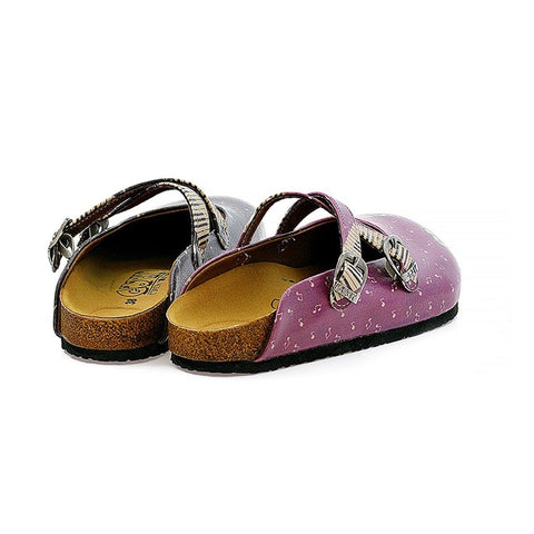 Purple, Black, White and Musical Note, Piano Patterned Clogs - CAL113