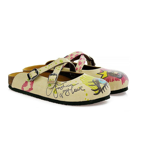 Purple, Green, Yellow, Blue Eyes, Purple Heart, Green Round, Girl and Fashion is My Love Written Beige Patterned Clogs - CAL114