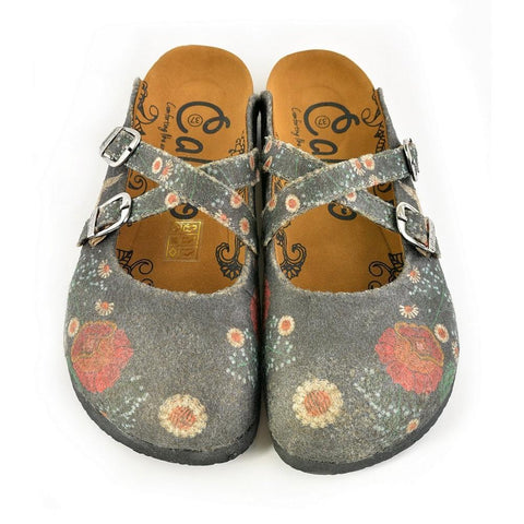 Red and White Flowers, Stork Patterned Clogs - CAL1201