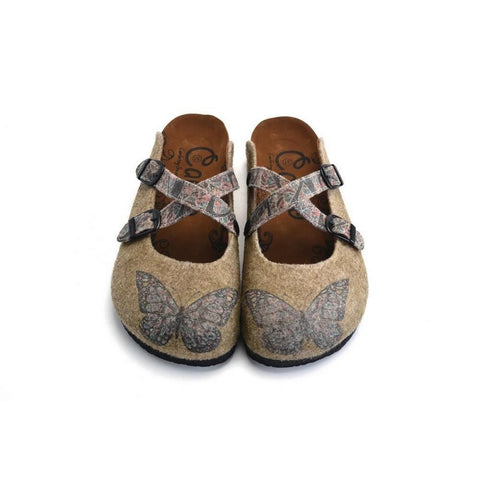 Colored Mixed Patterned Brown and Butterfly Clogs - CAL1203