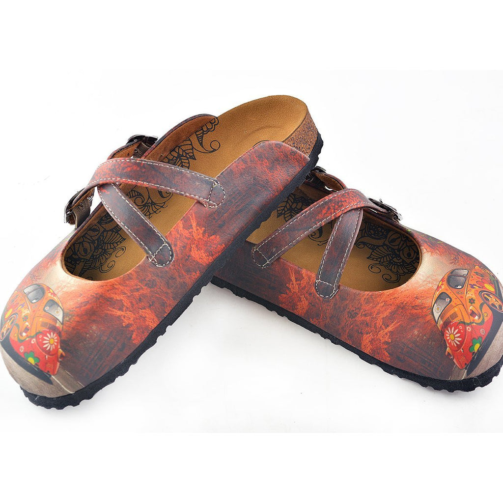 Red, Orange Flowers Car Patterned Clogs - CAL121