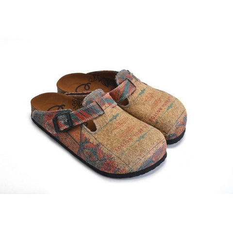 Colored Geometric Patterned and Brown Follow Your Style Written Clogs - CAL1303