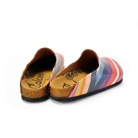 Orange, Pink and Chevron, Colored Patterned Clogs - CAL1401