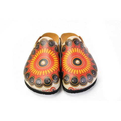 Red, Orange, Black, Yellow and Bead Pattern Clogs - CAL1402