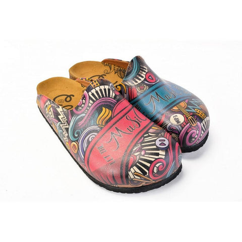 Purple and Blue Mixed Music Notes, Let the Music Written Patterned Clogs - CAL1406