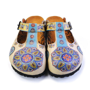 Beige, Light Blue, Yellow Patterned Colored Mosaic Flowers Patterned Clogs - CAL1503
