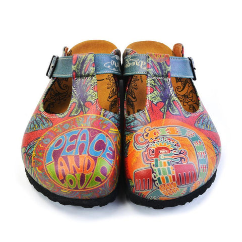 Blue, Orange, Green Peace and Love Written, Colored Dragon and Green Leaf, Blue Butterfly Patterned Clogs - CAL1505